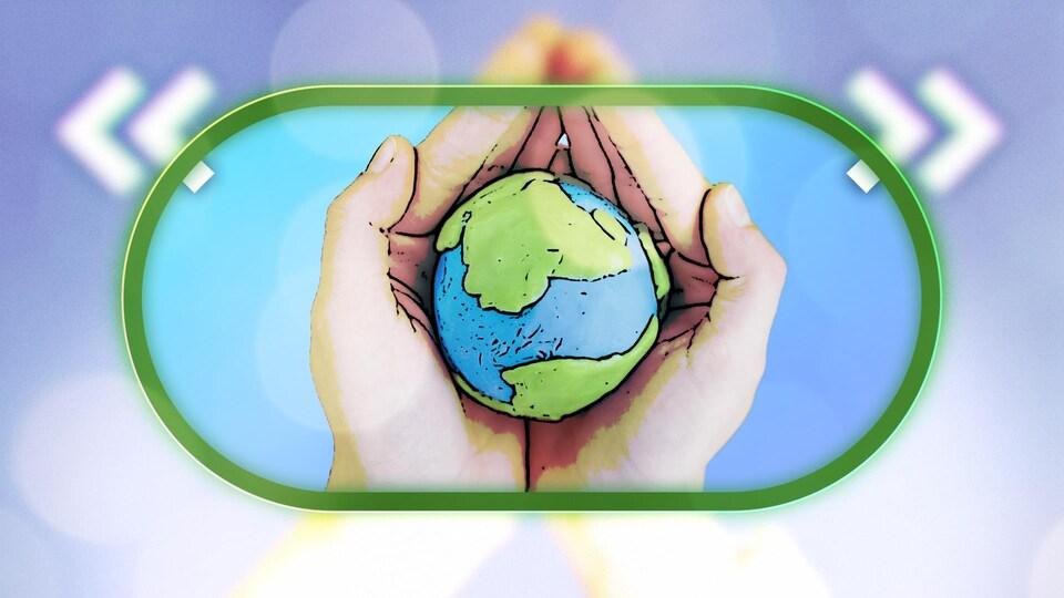 Illustration d'une paire de mains qui tiennent une petite planète Terre.