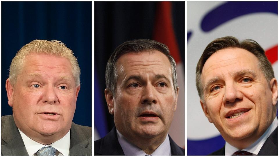 Un montage des photos des premiers ministres de l'Ontario, Doug Ford, de l'Alberta, Jason Kenney, et du Québec, François Legault.