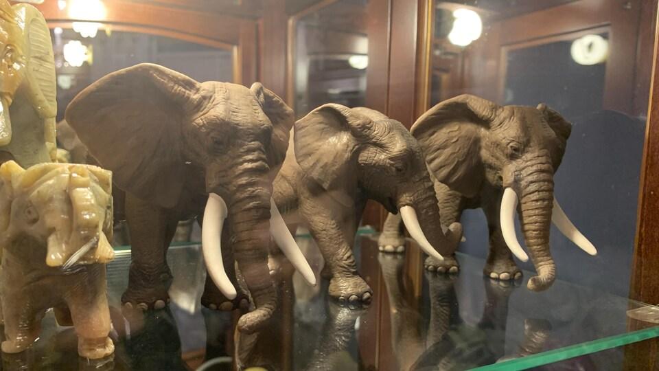 D'autres éléphants de l'imposante collection de Jacinthe Laquerre, de Nicolet.