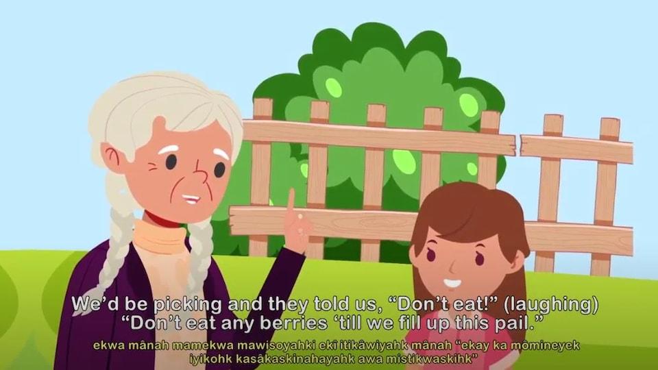Une ancienne et une jeune fille parlent dans un dessin animé.