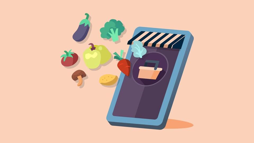 Une illustration qui représente l'achat d'épicerie en ligne. Plusieurs légumes sortent d'un téléphone cellulaire.