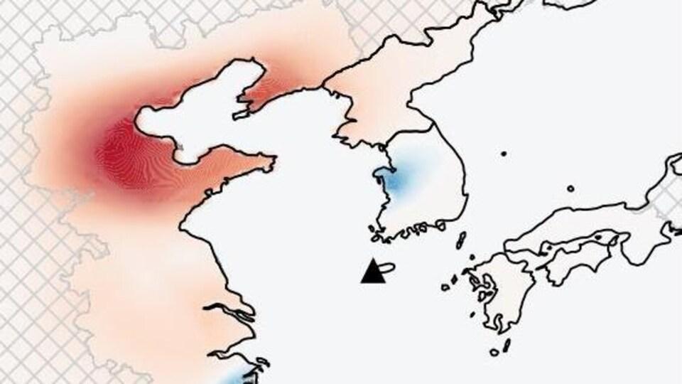 Graphique illustrant l'évolution des émissions de CFC-11 dans l'atmosphère entre 2008-2012 et 2014-2017. Les hausses des émissions sont en rouge et identifient une partie importante du sud-est de la Chine.