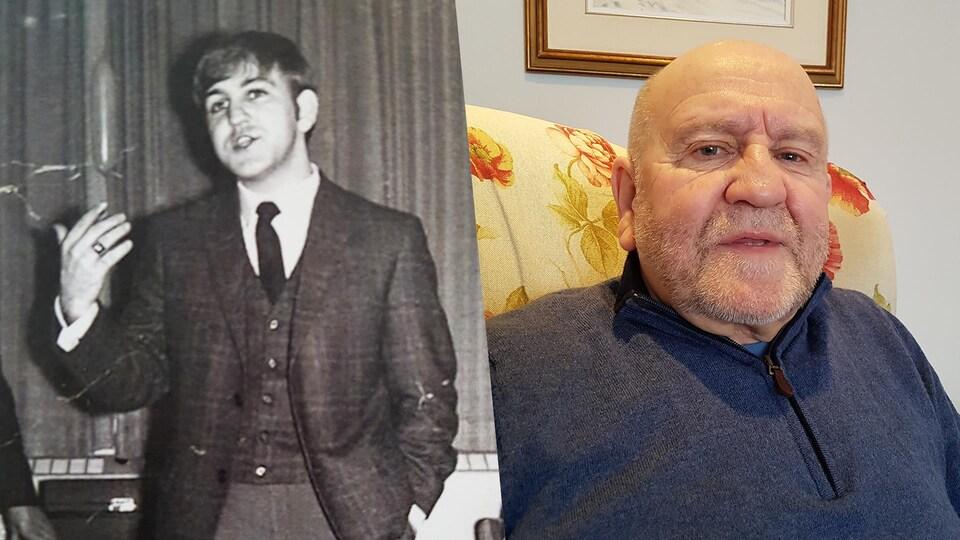 Deux photos en parallèle : un jeune enseignant en classe et le même homme près de 50 ans plus tard.