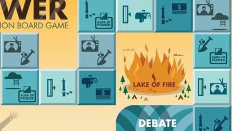 Une case sur un plateau de jeu montrant un lac enflammé.
