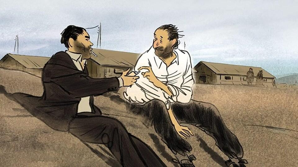 Illustration de deux hommes assis. L'un tend un paquet de cigarettes à l'autre.