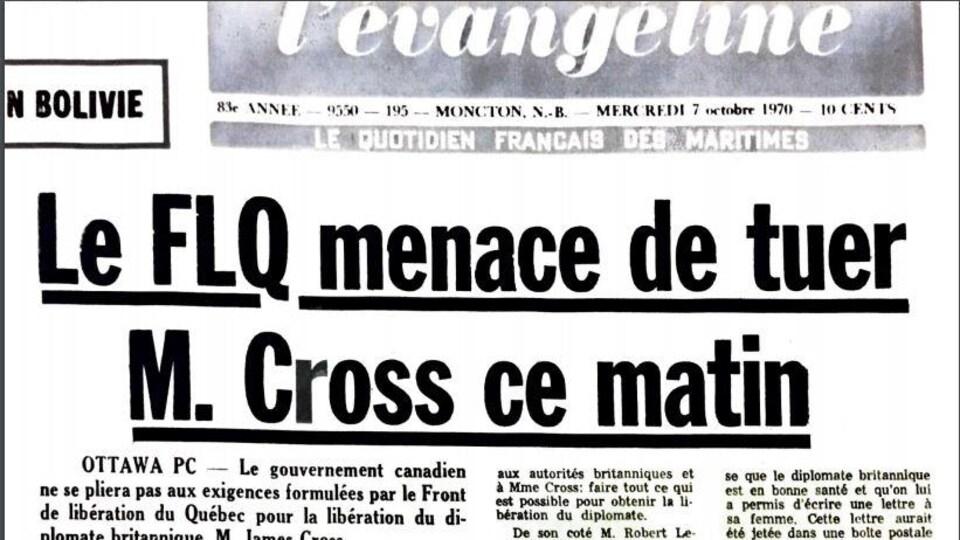 Article de journal de L'Évangéline du 7 octobre 1970 avec comme titre: Le FLQ menace de tuer M. Cross ce matin.