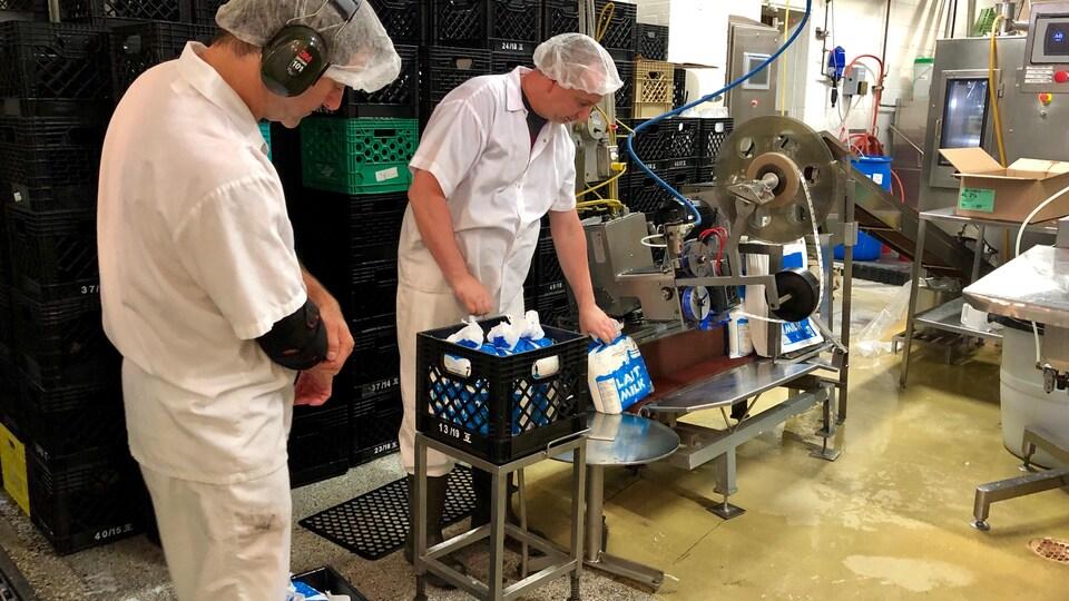 Des travailleurs mettent des sacs de lait dans une caisse.