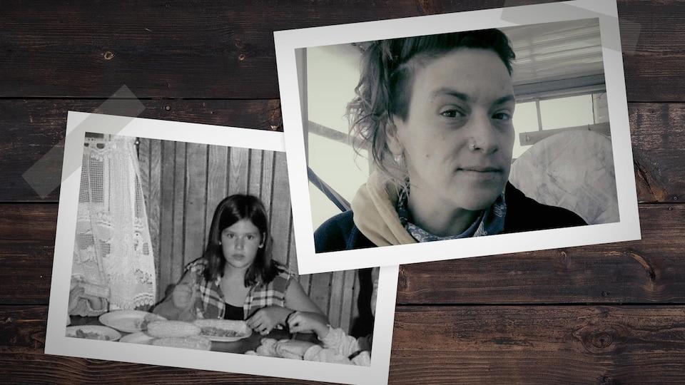 À la droite : une photographie d'une petite fille. À la gauche : une photographie de la même petite fille maintenant adulte.