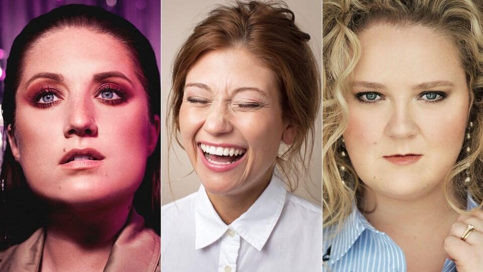 Un montage photo montrant les visages maquillés de Fanny Bloom, Katherine Levac et Debbie Lynch-White.