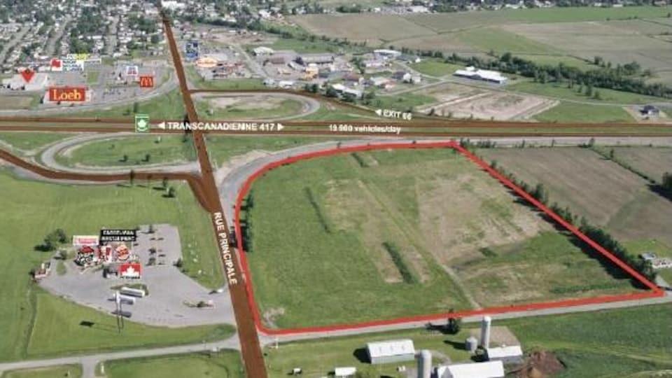 Carte montrant l'endroit où sera situé le Nouveau Centre de distribution.