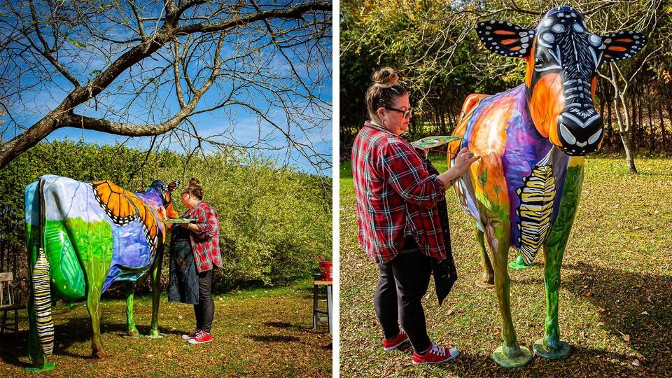 Shanna Steals en train de peindre une sculpture de vache.