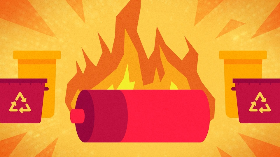 Illustration d'une pile en feu qui est entourée de bacs de recyclage.