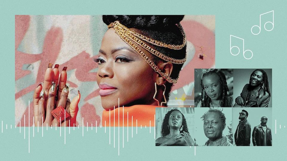 Collage photo d'Erta Ekosso, Sally Nyolo, Richard Bona, Charlotte Dipanda, Lokua Kanza et Ridimz.