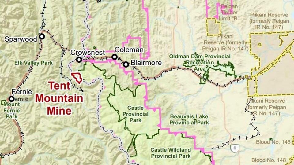 Carte représentant le projet de mine Tent Mountain au sud de la municipalité de Crowsnest en Alberta.