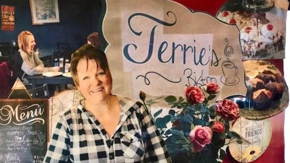 Images de la visite au resturant Terrie's Bistro. Une image de Terrie, de gâteau, de muffins et du menu.