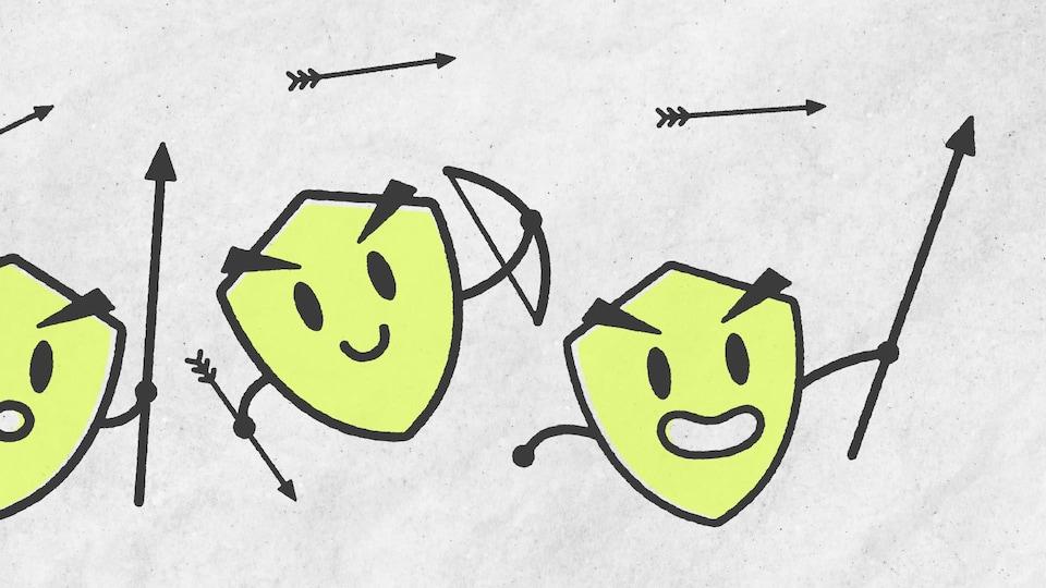 Illustration de petits boucliers qui tiennent des lances et des arcs.