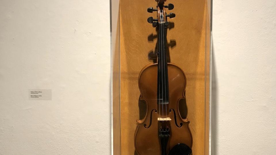 Un violon est exposé.