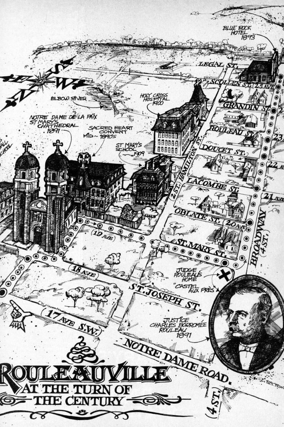 Plan en noir et blanc d'un quartier délimité par les rues Legal au nord, Notre-Dame au sud, Broadway à l'est et les édifices religieux à l'ouest.