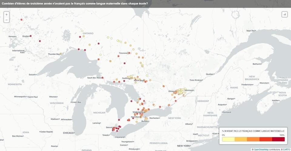 Carte visualisant les données