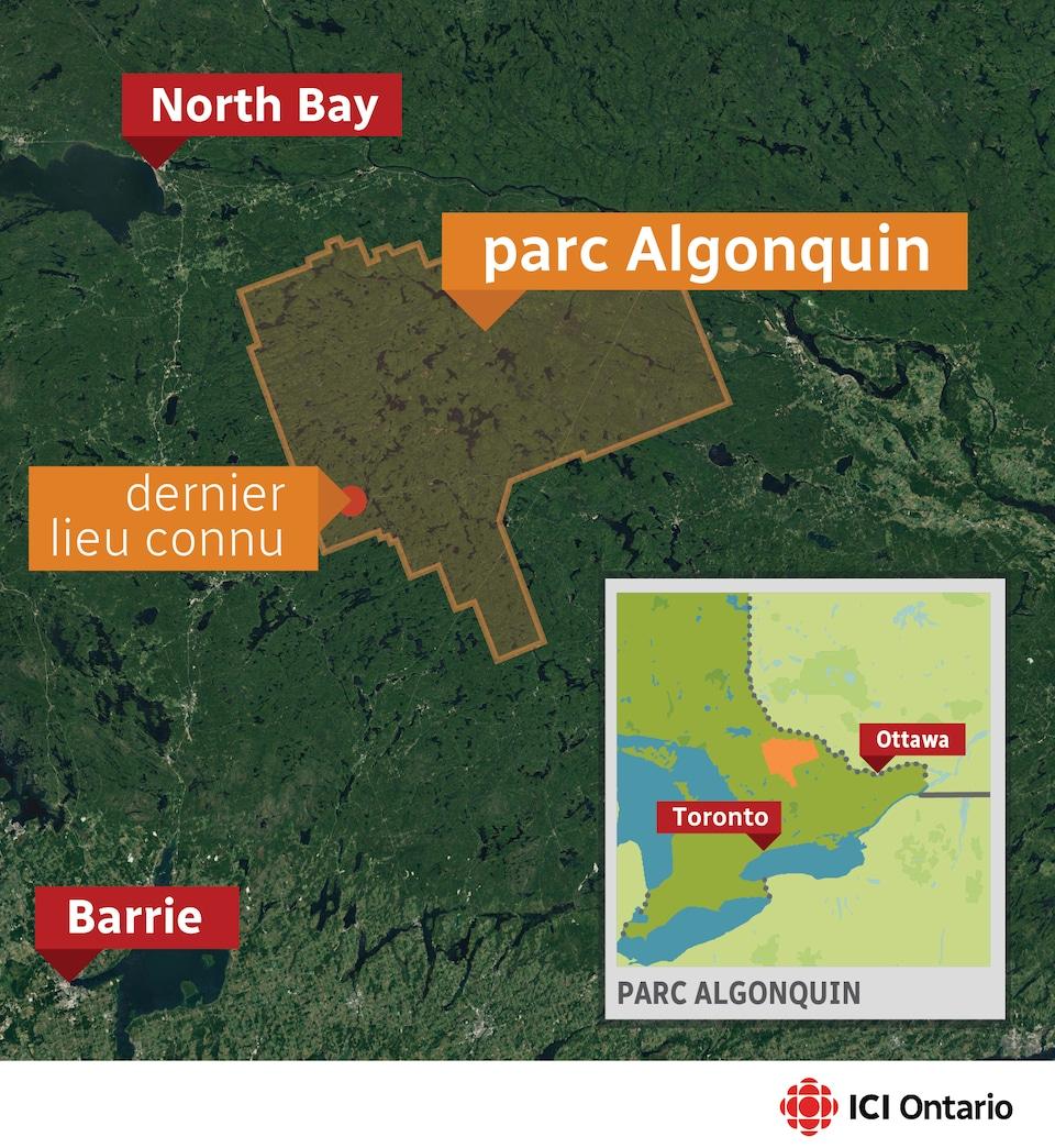 La carte du parc Algonquin où deux adolescentes se sont perdues.
