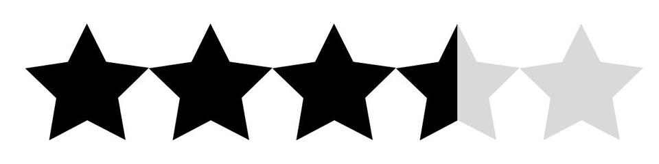 Il y a trois étoiles noires et deux qui sont grises.