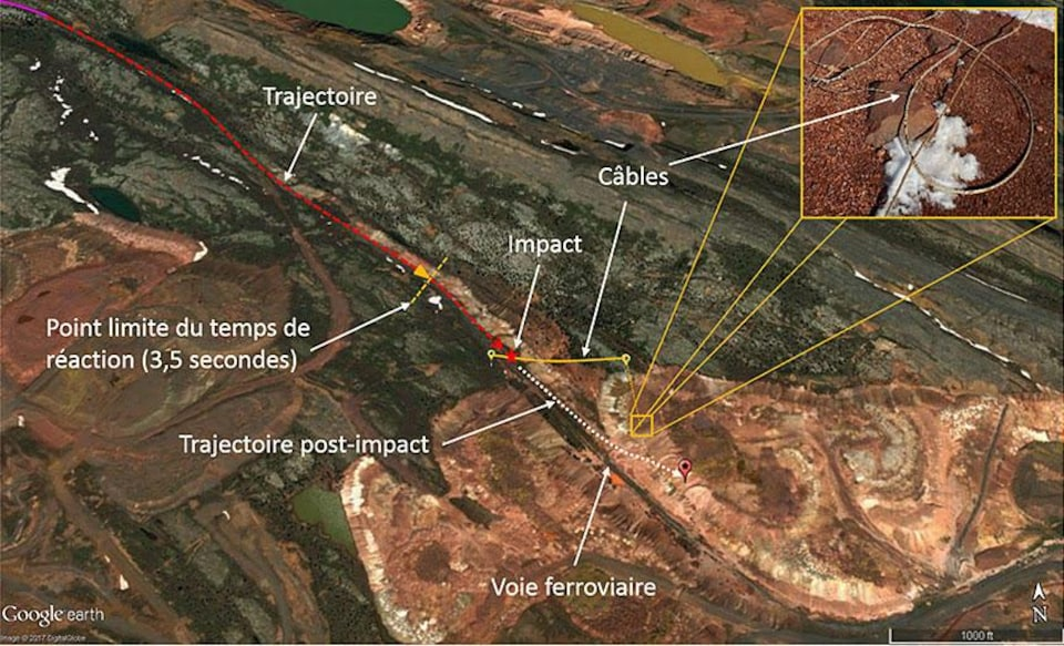 La carte démontre la trajectoire de l'avion qui longe la voie ferrée avant de heurter des câbles aériens