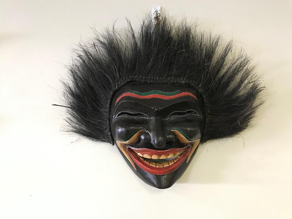 Une photo d'un masque docteur-sorcier très réaliste. Le masque a des cheveux et un énorme sourire.