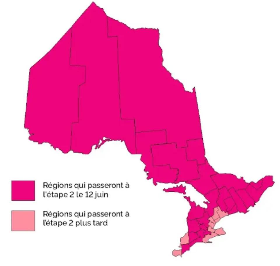 Une carte de l'Ontario