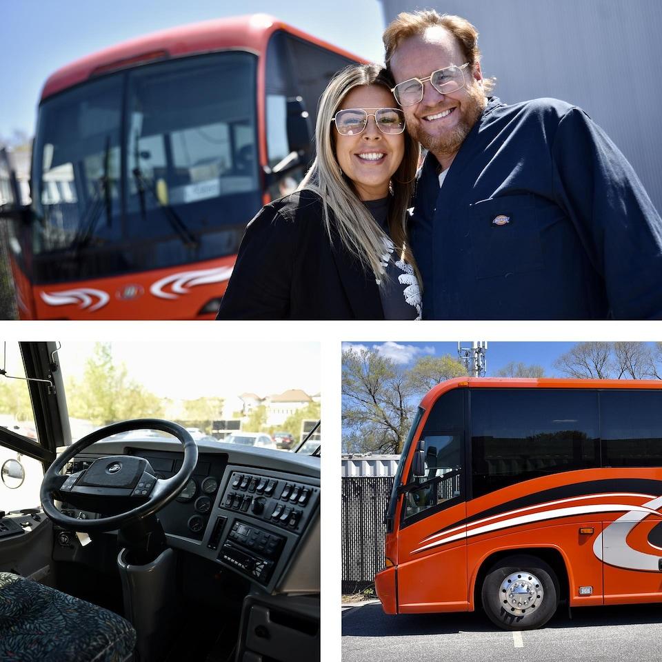 Mosaïque photo de Jaja Plouffe, son conjoint Martin et leur autobus.