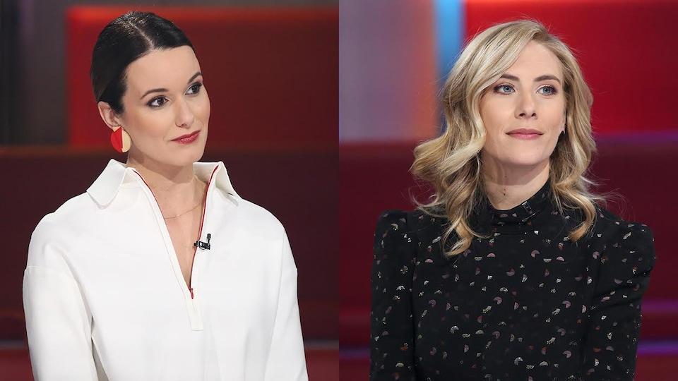 Monic Néron porte une tunique blanche et Émilie Perreault une robe à petits motifs.