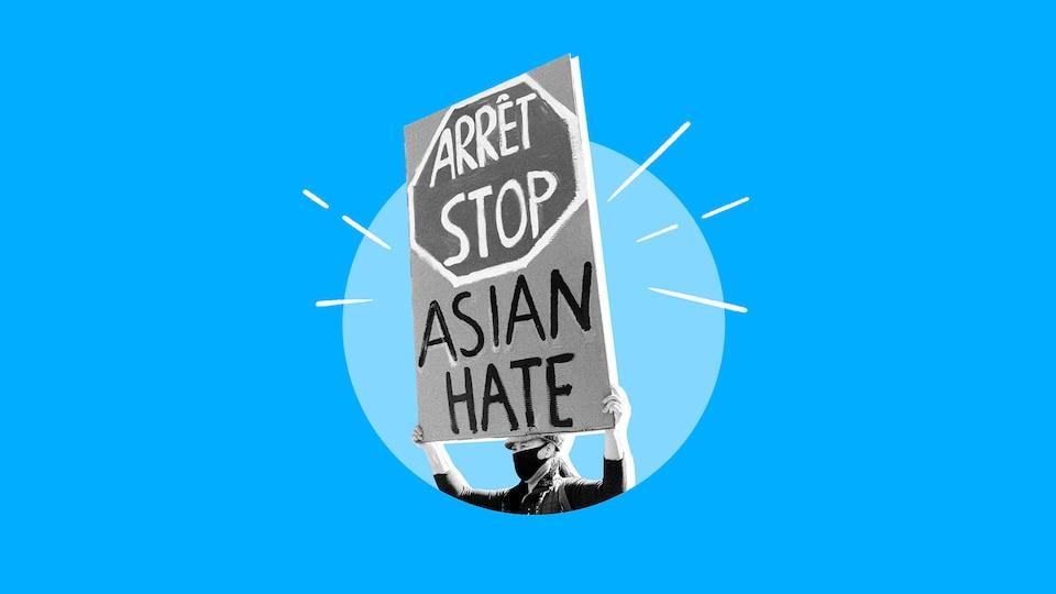 Personne tenant une pancarte sur laquelle il est écrit « stop asian hate ».