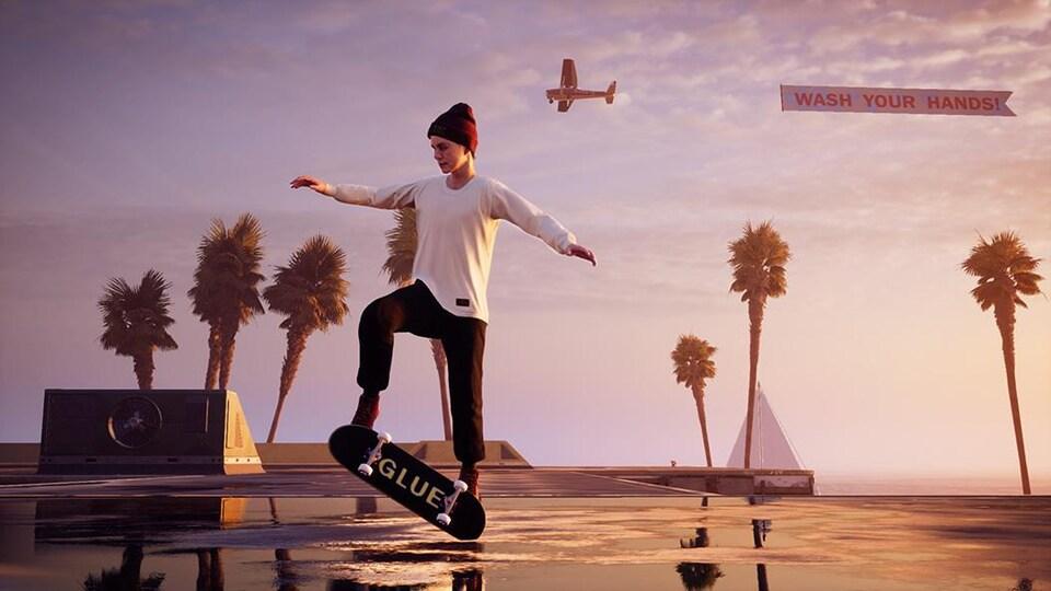 Le personnage de Leo Baker en train d'exercer un kickflip.