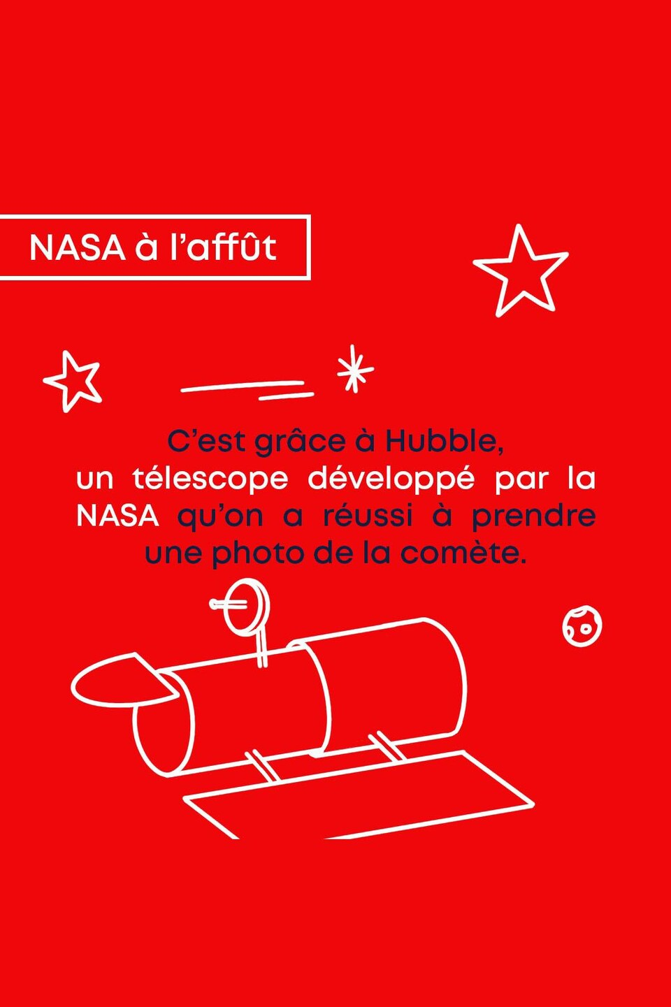 La NASA à l'affût. C'est grâce à Hubble, un télescope développé par la NASA qu'on a réussi à prendre une photo de la comète.