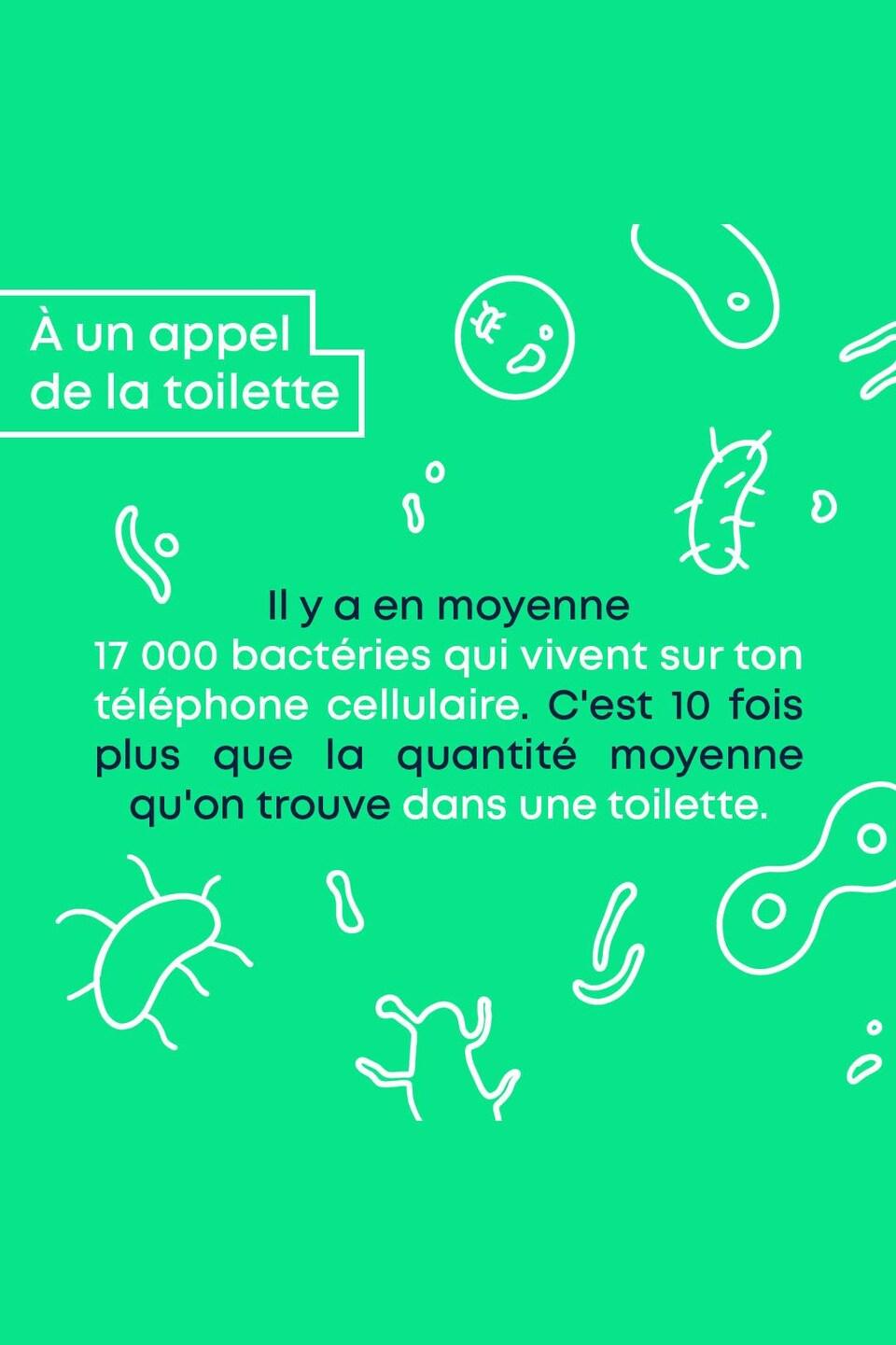 À un appel de la toilette : Il y a en moyenne 17 000 bactéries qui vivent sur ton téléphone cellulaire. C'est 10 fois plus que la quantité moyenne qu'on trouve dans une toilette.