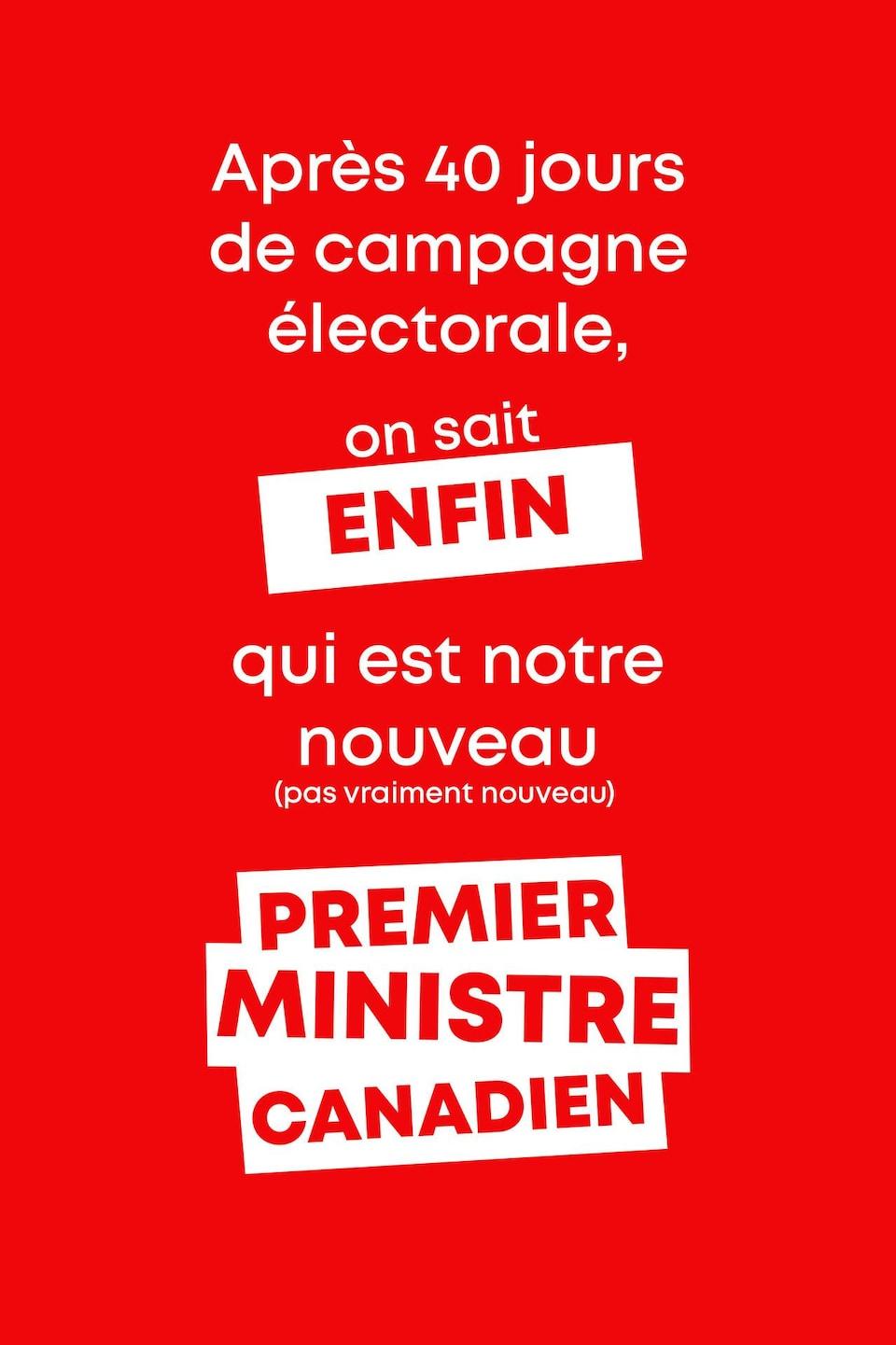 Après 40 jours de campagne électorale, on sait ENFIN qui est notre nouveau (pas vraiment nouveau) Premier ministre canadien.