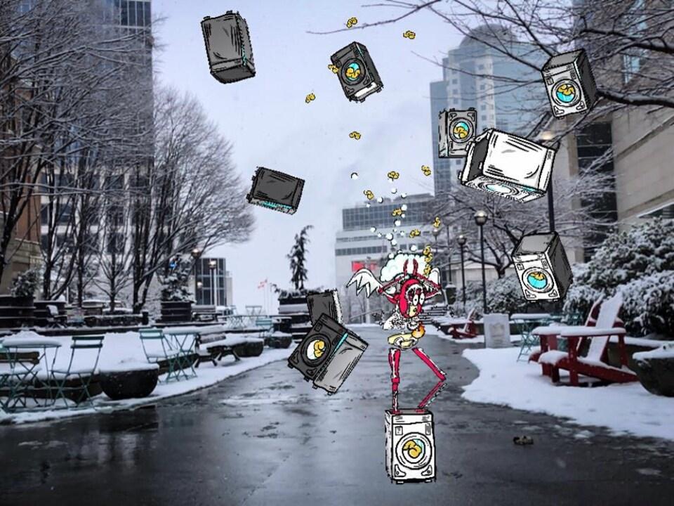 Un personnage et installation artistique virtuelle en réalité augmentée se trouve dans une rue de Vancouver.