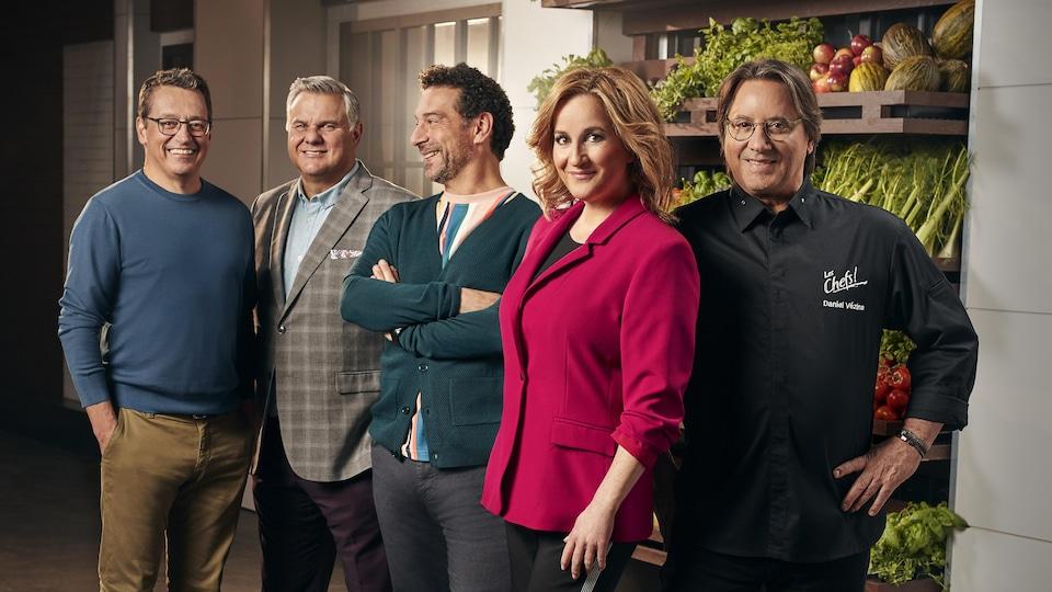 La photo regroupe, debout côte à côte, Élyse Marquis, Daniel Vézina et les juges Jean-Luc Boulay, Normand Laprise et Pasquale Vari.