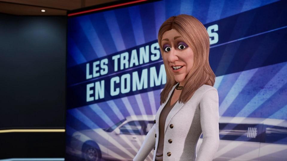 Le personnage est sur un plateau de télévision.