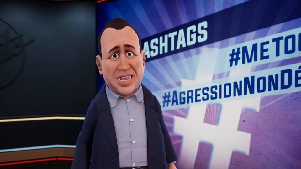 Le personnage est sur un plateau de télé devant un écran où on peut lire hashtags #metoo.