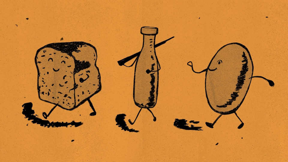 Une illustration de Monsieur pain, Monsieur oeuf et Monsieur lait marchant vers la gauche.