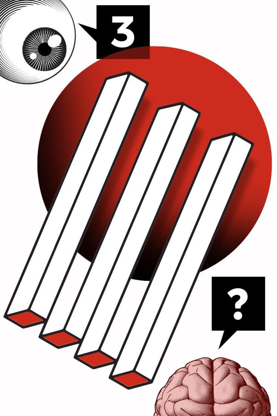 Un oeil humain et un cerveau qui regardent une illusion d'optique où trois bâtonnets semblent se transformer en quatre bâtonnets.
