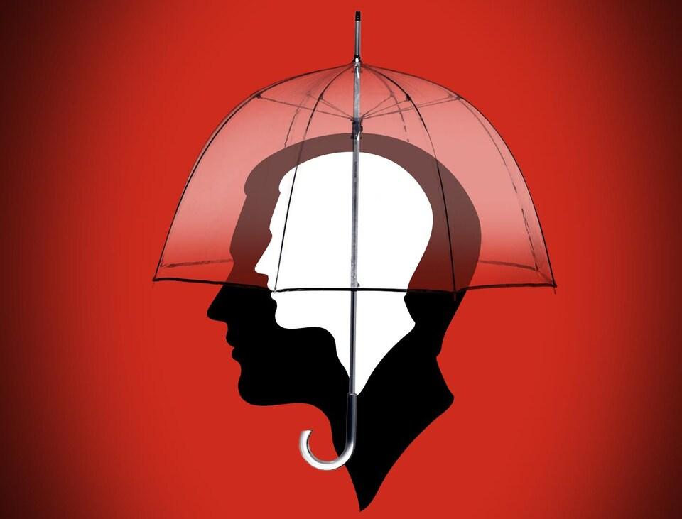 Deux silhouettes de têtes humaines identiques superposées à l'intérieur d'un parapluie.