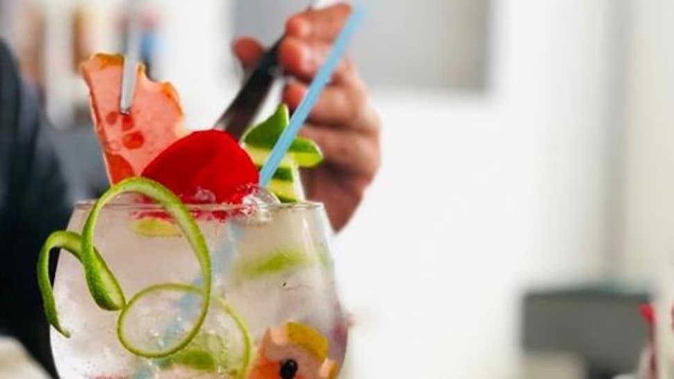 Du gin, du tonic et des tranches de fruits exotiques ont été versés dans un verre à cocktail rond.