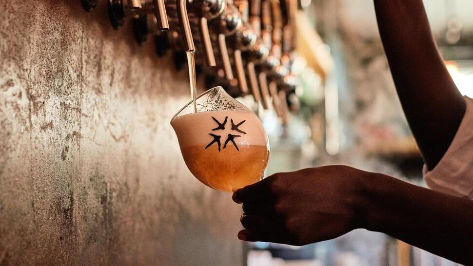 Une personne fait couler une bière en fût dans un verre.
