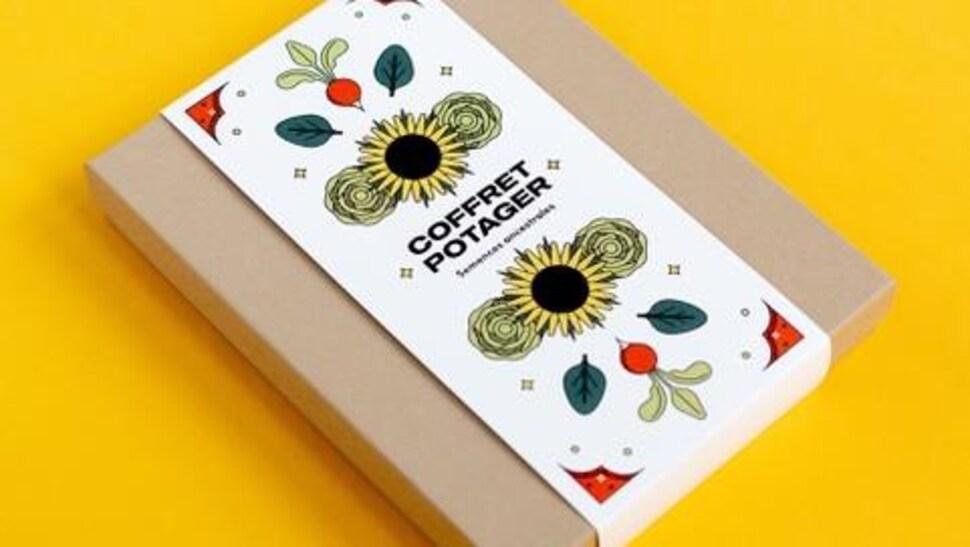 Coffret en carton de semences pour potager.
