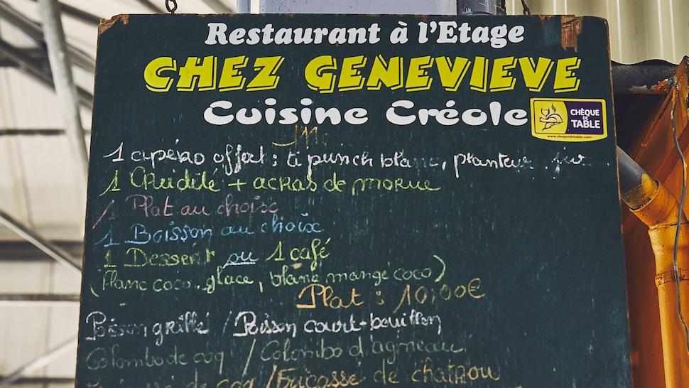 Affiche menu d'un restaurant de cuisine créole on Martinique.