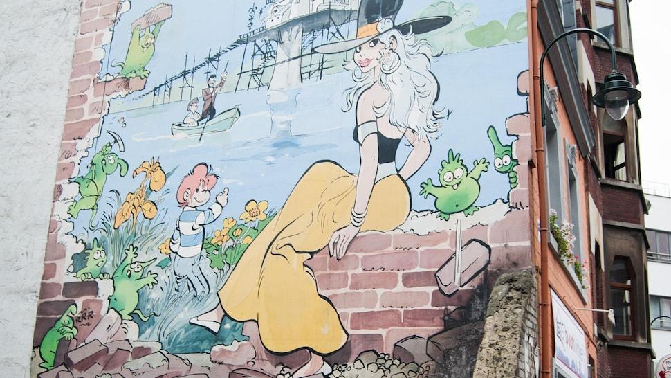Murale de bande dessinée à Bruxelles.