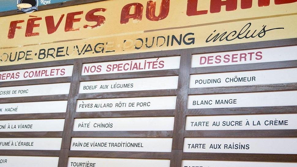 Le menu de la Binerie Mont-Royal.
