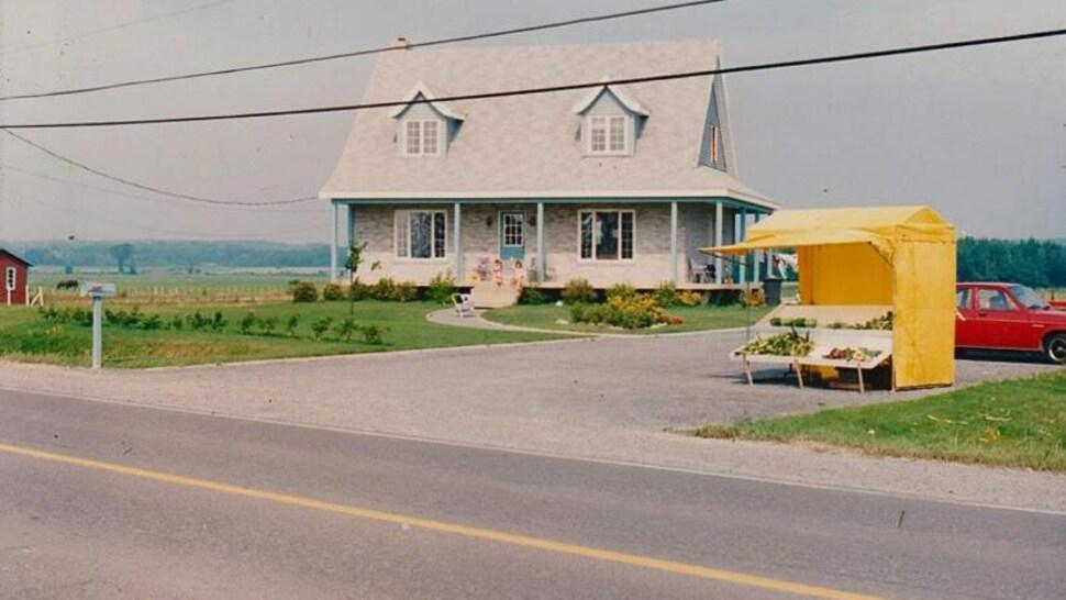 Un kiosque de légumes peint en jaune le long d'une route.