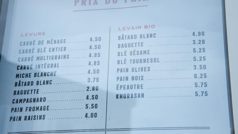 Une partie du menu pain de la boulangerie Louis Marchand & Compagnie.
